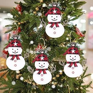 Bivan Christmas Hang Ornaments Set of 4, Plush Foam Christmas White Snowman Pendant for Christmas Tree Home Decoration