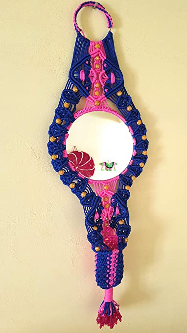 Buy Macrame Mirror Beautiful Wall Hanging Macarme Handcrafted Round Shape Mirror Containing Comb Holder Online At Low Prices In India Amazon In