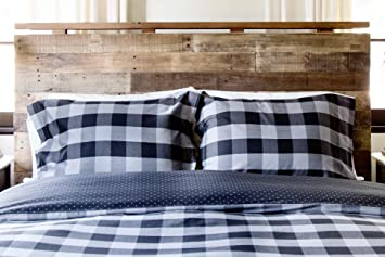 Thread Experiment Woven Herringbone Buffalo Check Comforter Set For Men,  Black / Charcoal, Twin Great Ideas