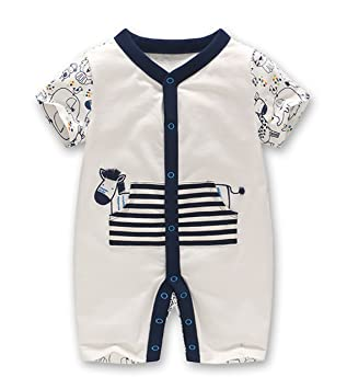 bd0811d46 Amazon.com  NOMSOCR Newborn Baby Girls Boys Infant Short Sleeve One ...