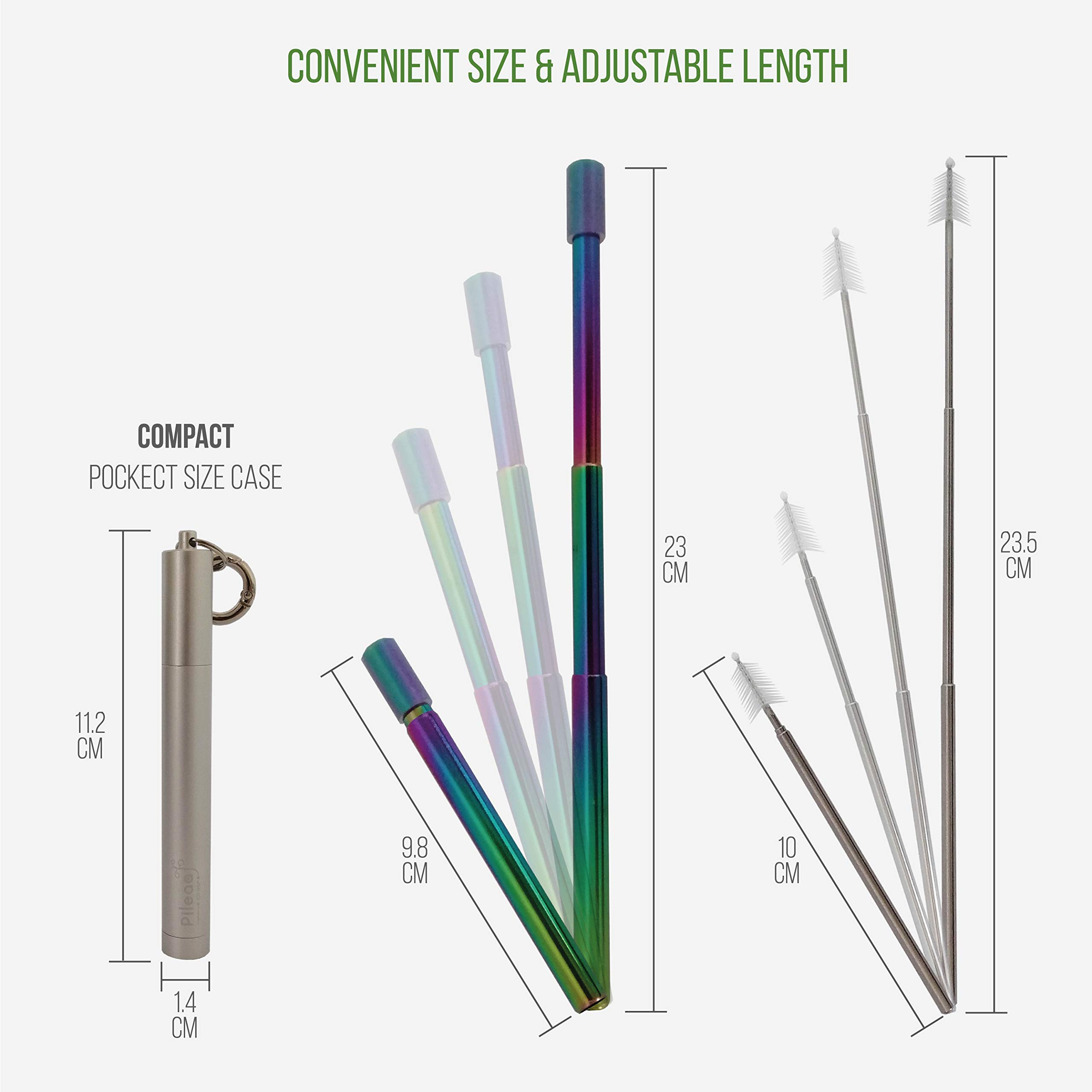 Pileaa Stainless Steel Straw with case, Rainbow Reusable Metal Straw, Retractable Telescopic Straw, Travel Portable Straw with Brush, Pocket Straws, Zero Waste Products, Silver
