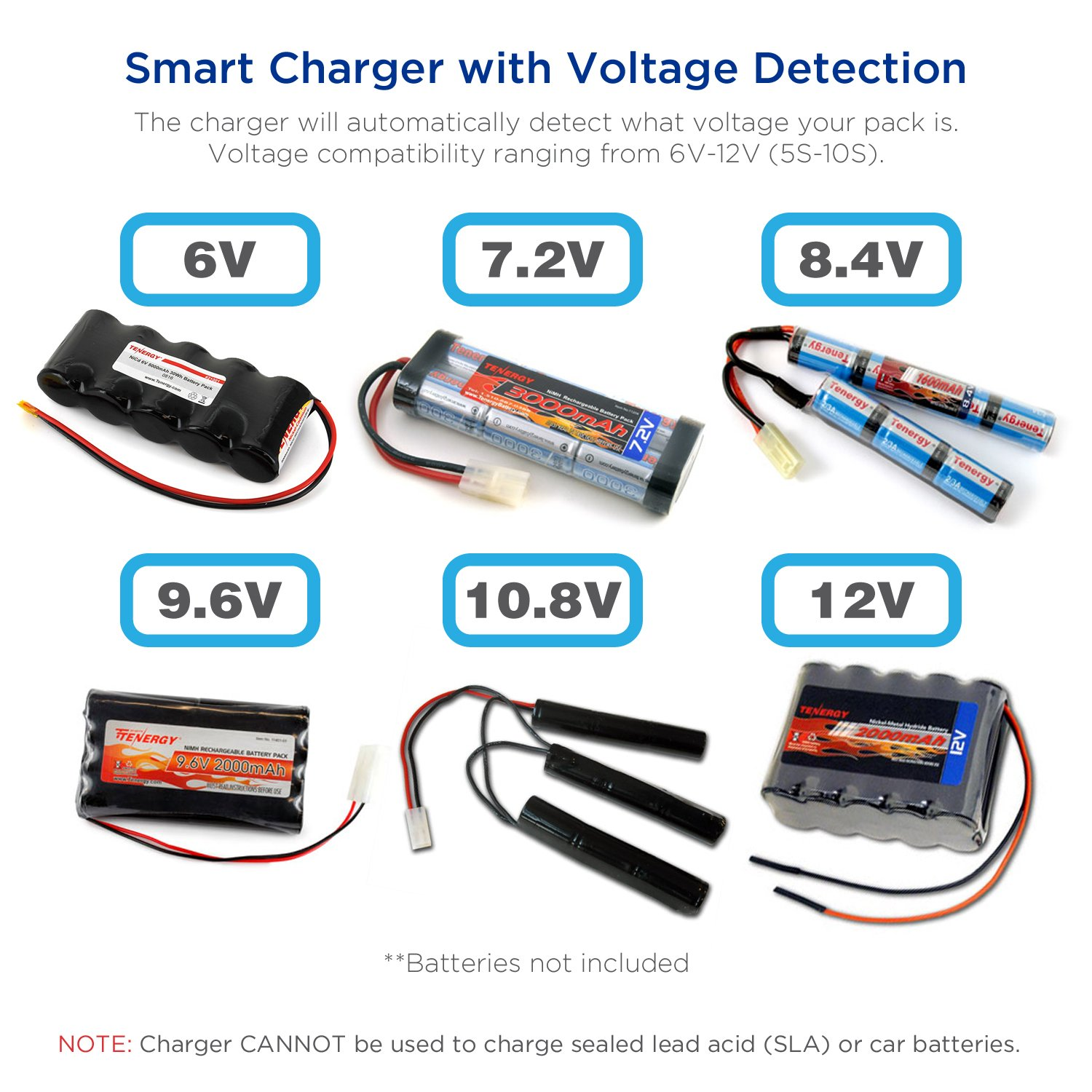 Tenergy Universal Rc Battery Charger For Nimh Nicd 6v Wiring Batteries In Series 12v Packs Fast Car Airsoft Compatible With Standard