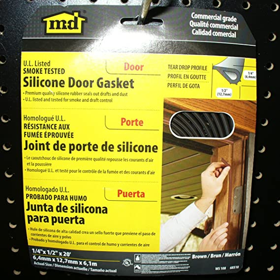 M-D Building Products 68510 1/4-Inch by 1/2-Inch - 20-Feet WS108 Silicone Smoke Seal Casketing, Brown - Door Thresholds - Amazon.com