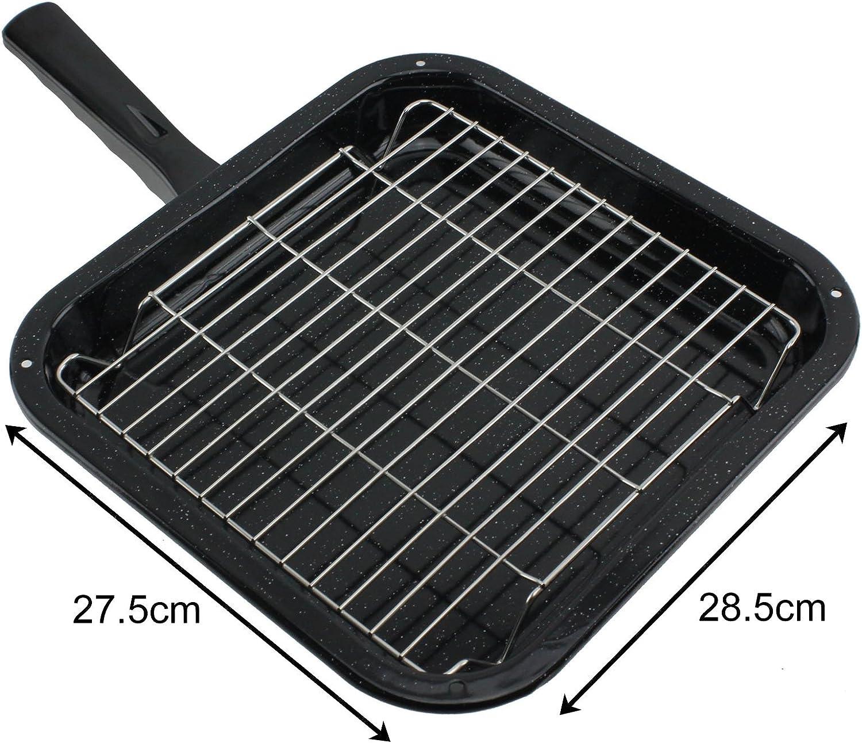 GRILL PAN COMPLETO DI RACK /& Staccabile Maniglia per cucina forno NEW WORLD