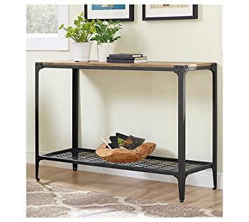 W. Designs Walker Edison Angle Iron Rustic Wood Console Table in Barnwood