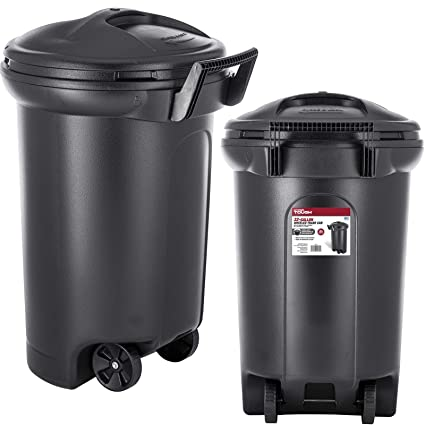 32 Gallon Wheeled Trash can Garbage Container Outdoor Plastic Waste Bin Basket Black - Trash can  sc 1 st  Amazon.com & Amazon.com: 32 Gallon Wheeled Trash can Garbage Container Outdoor ...