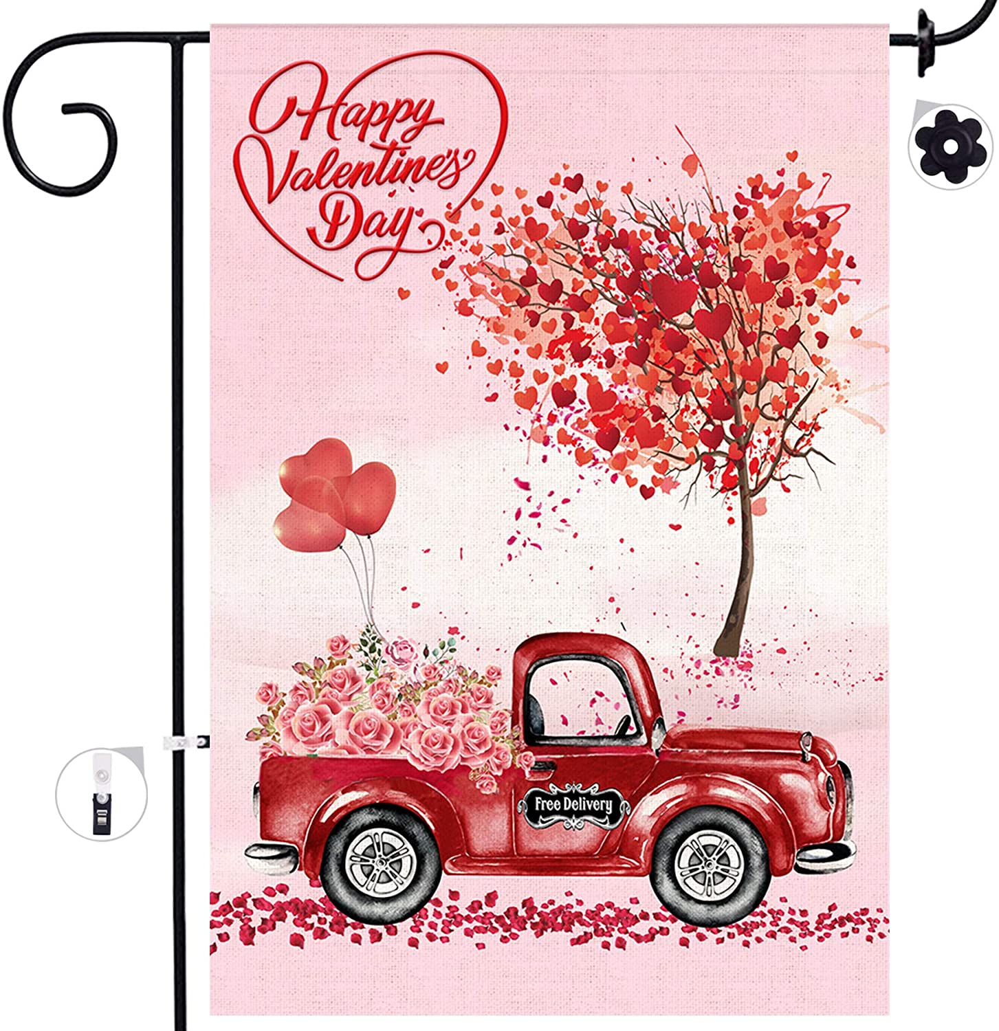 Bonsai Tree Valentines Day Garden Flag, Double Sided Valentine Burlap House Flags, Love Hearts Tree Red Truck with Rose Flowers Flags 12x18 Prime, Valentines Day Decorations for The Home