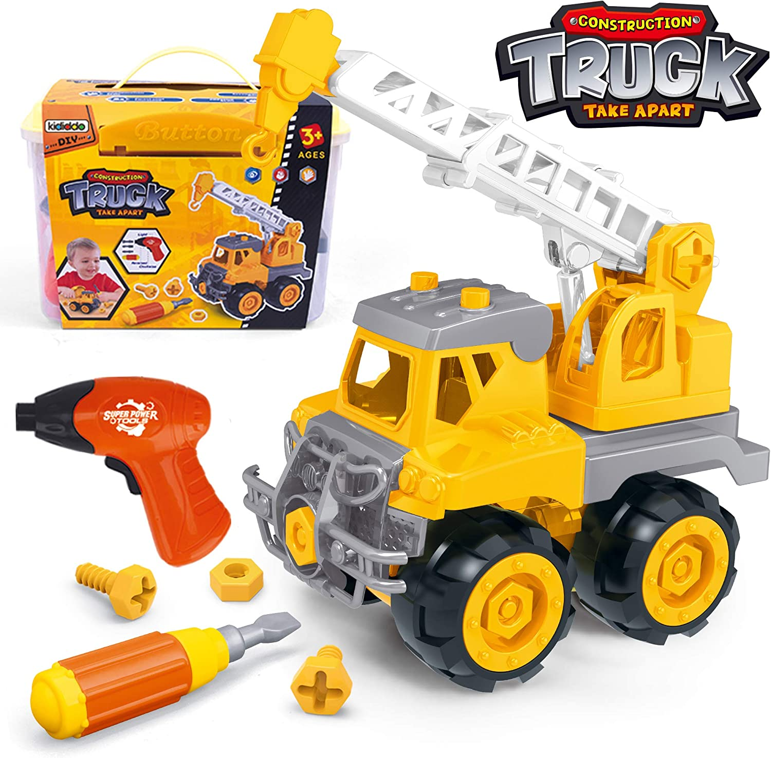 DIY Creative Construction Kit Realistic Lights /& Sounds Car Assembly Toy with Electric Toy Drill for Boys Girls Kids Ages 3 Gift Take Apart Toy Racing Car 26 Pieces Set