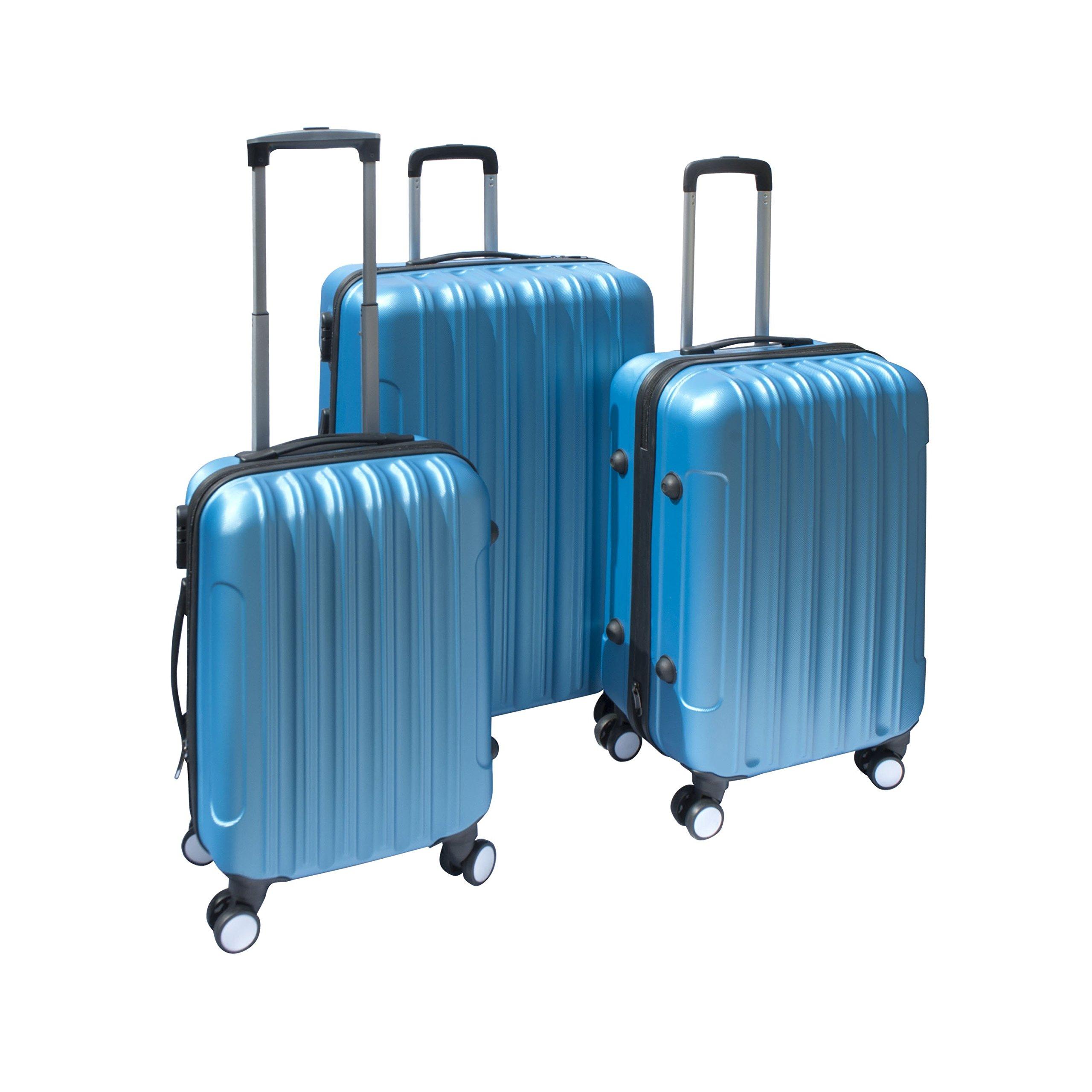 ALEKO 3 Piece Luggage Travel Bag Set ABS Suitcase With Lock, Blue Color