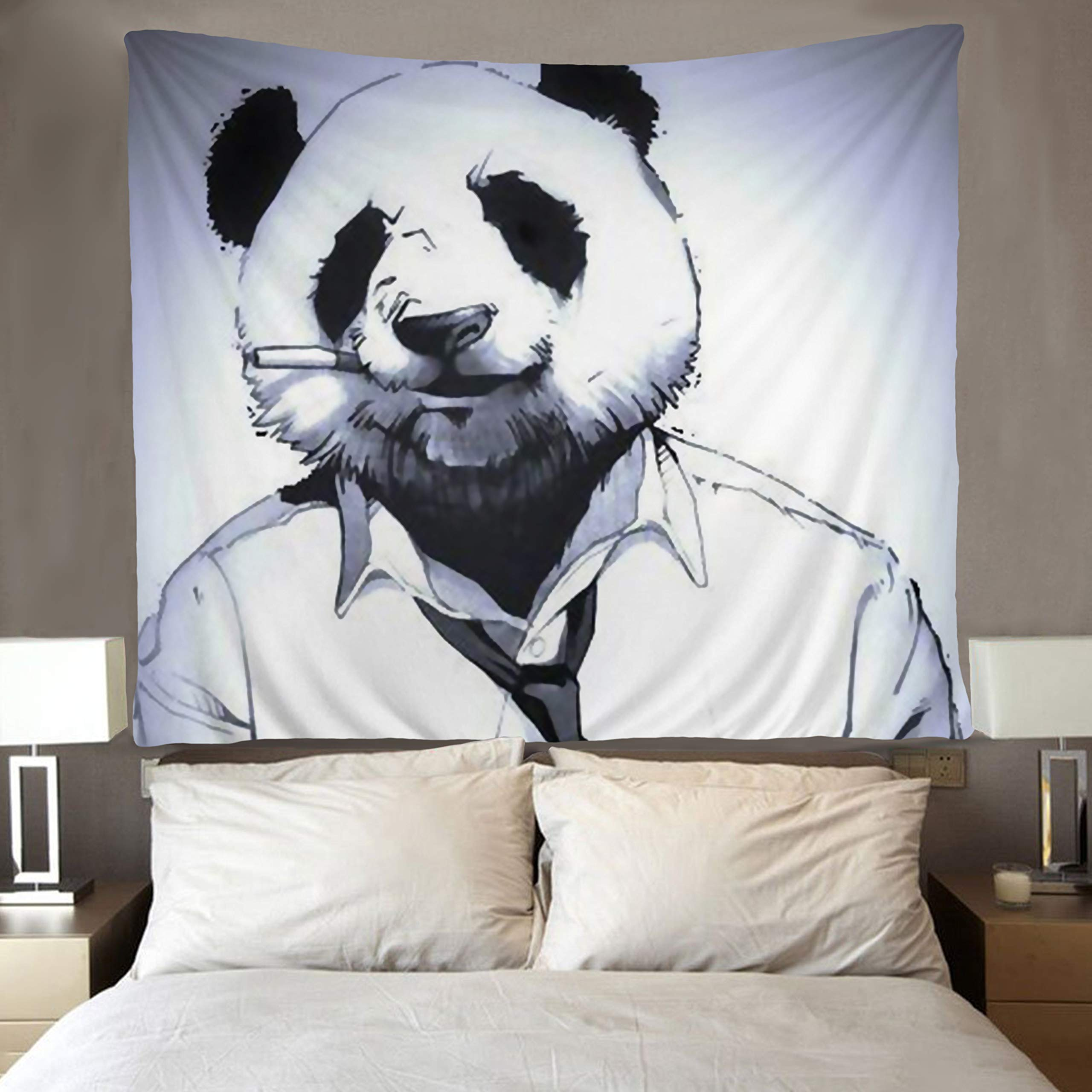 SARA NELL Funny Panda Tapestry Art Wall Hippie Art Cool Panda Tapestries Wall Hanging Throw Tablecloth 50X60 Inches for Bedroom Living Room Dorm Room