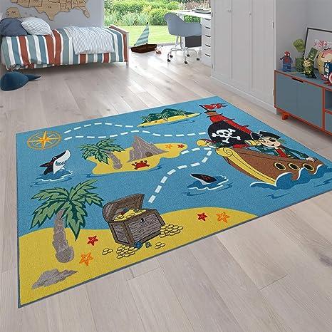 Alfombra para niños, Alfombra de Juego para Habitaciones de niños, La Isla del Tesoro y el Pirata, En Color, tamaño:Ø 200 cm Redondo: Amazon.es: Hogar