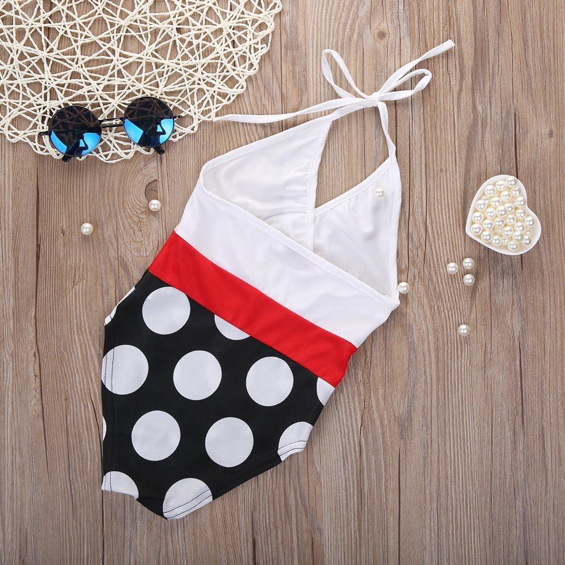 Little Girls Polka Dot Halter Backless One-Piece Swimwear