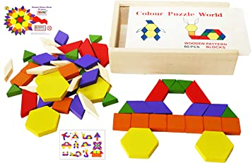 Toys of Wood Oxford Wooden Pattern Blocks and Puzzle 60 Pieces - Wooden  Shape Sorter Tangram Puzzles - Geometric Shape Puzzle 3 4 5 years old and