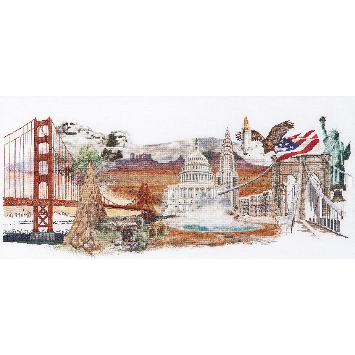 Thea Gouverneur 36 Count America on Linen Counted Cross Stitch Kit, 29 x 13.5 by Thea Gouverneur B00NBUHCCU