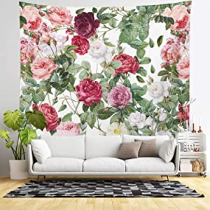 Floral Tapestry Wall Hanging - Rose Garden Wall Tapestry - Bright Pink, Cream, Blush and Red Flowers on White - Living Room Decor & Home Wall Art - Large Tapestries for Bedroom & Dorm Decoration