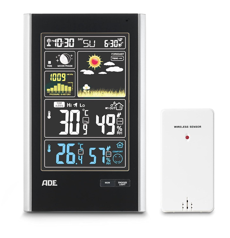 ADE Estación meteorológica digital con radio-reloj-alarma y ...