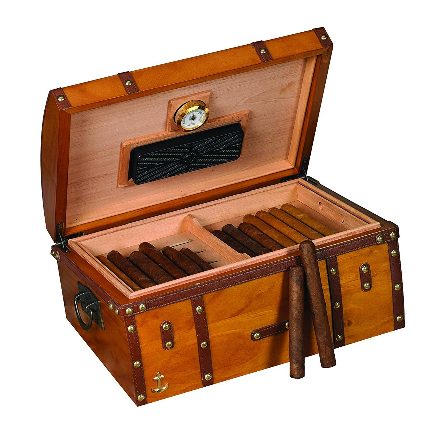 Humidor Supreme Gold Rush Cigar Humidor, Spanish Cedar Tray and Dividers, Glass Hygrometer with Brass Frame, Holds up to 200 Cigars, Exterior 16''x11'' x8'' by Humidor Supreme (Image #2)