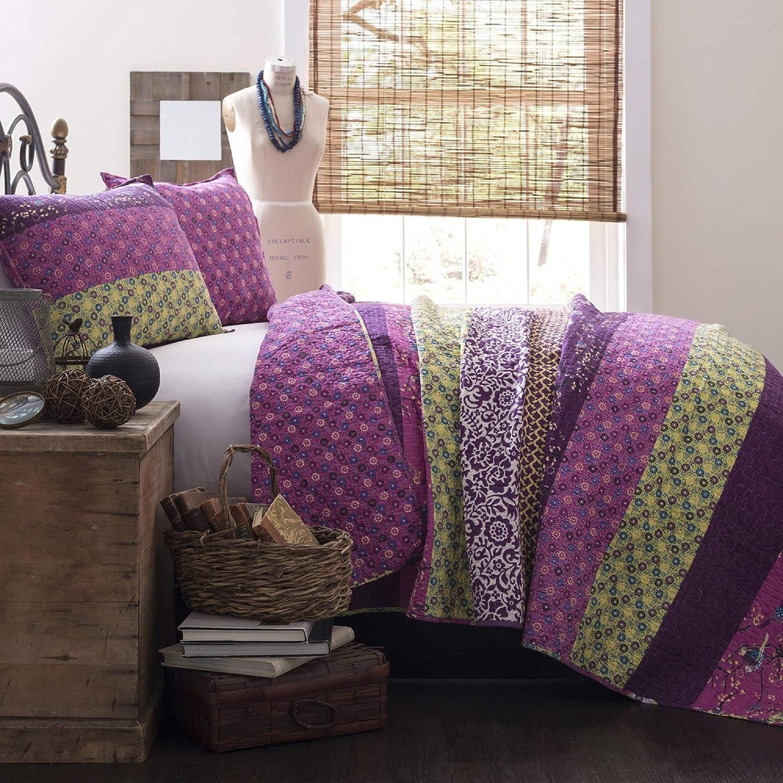 Lush Decor Royal Empire Quilt Striped Pattern Reversible 3 Piece Bedding Set, Full Queen, Plum