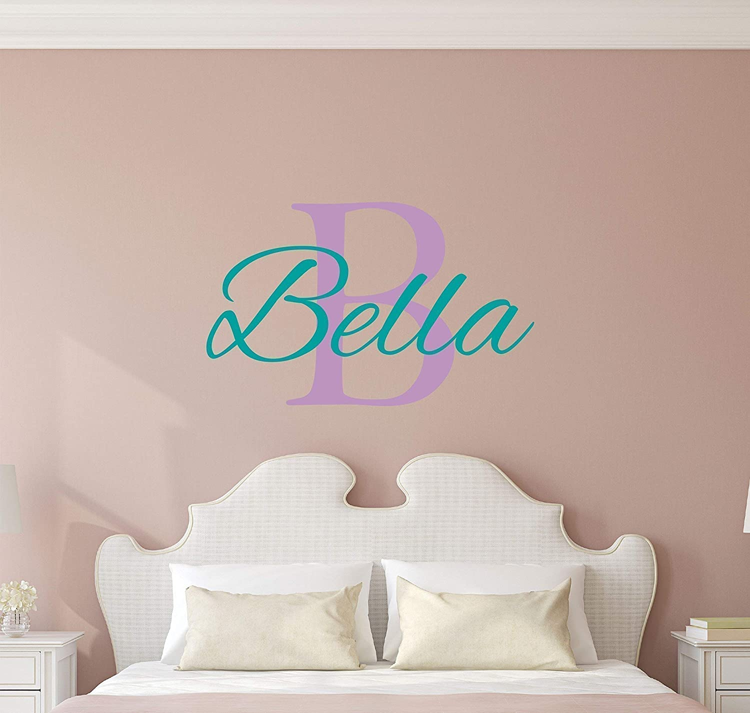 069a606fabcf Custom Name Girls Boys Wall Decal Monogram - Personalized Name Wall Decal  Sticker Art - Name Vinyl Wall Decal - Name and Initial Decal - Nursery Room  Wall ...