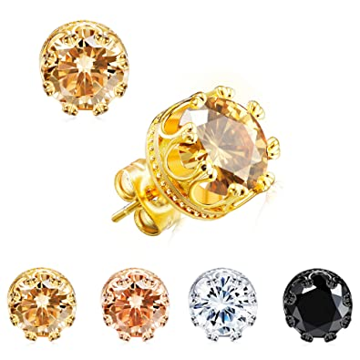 Man Woman Silver Plated CZ 6MM Crown Stud Earrings Round Crystal Cubic Zirconia