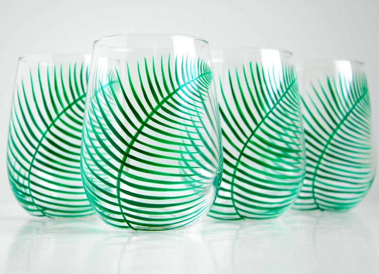 Green Ferns Stemless Wine Glasses - Set of 4 Hand Painted Fern Glasses, Wedding Gift, Gift for Her