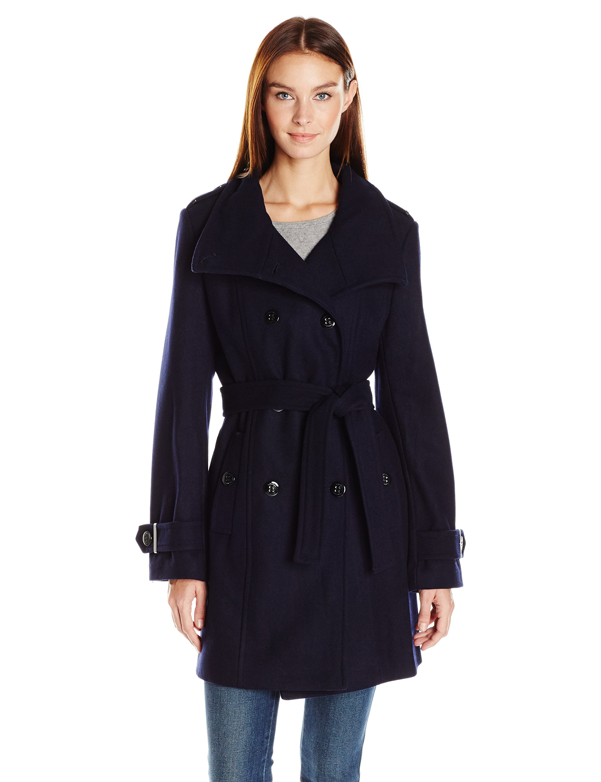 Calvin Klein Women's Wool Belted Double Breasted Coat, Navy, L