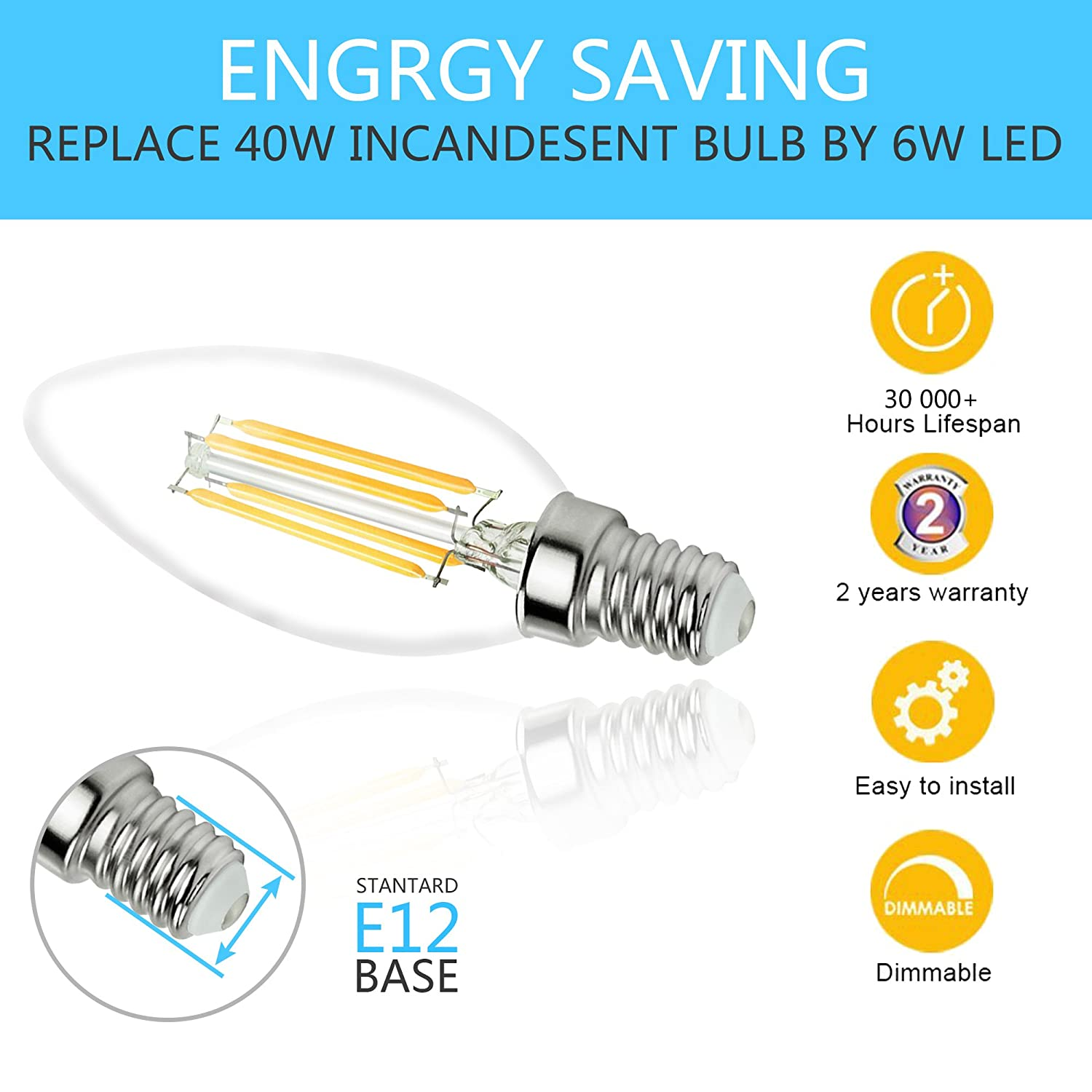400LM Rekabel Dimmable Candelabra LED Bulb C35 Torpedo Tip E12 base,40-60W Incandescent Replacement 4W Warm White 3000K 12PACK-C35-4500K