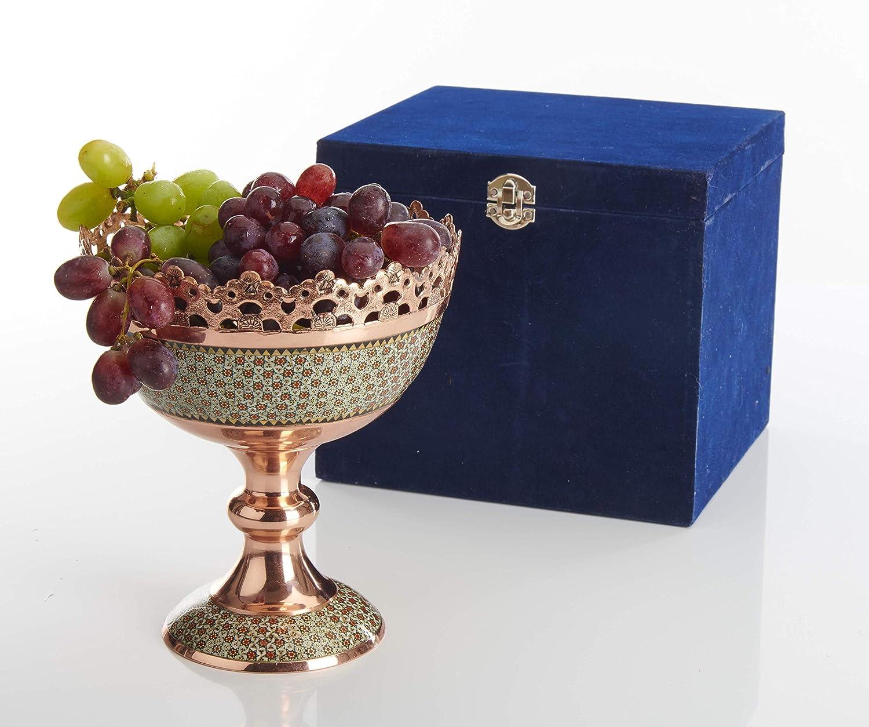 squisita marchetry persiano incisa in rame LPUK KHATAM Ciotola per frutta