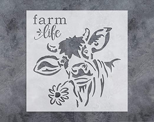 GSS Designs Black Cow Flower Stencil(12x12 Inch) Country Farm Cow Stencil for Painting Wood Canvas Wall Home Decor(SL-089)