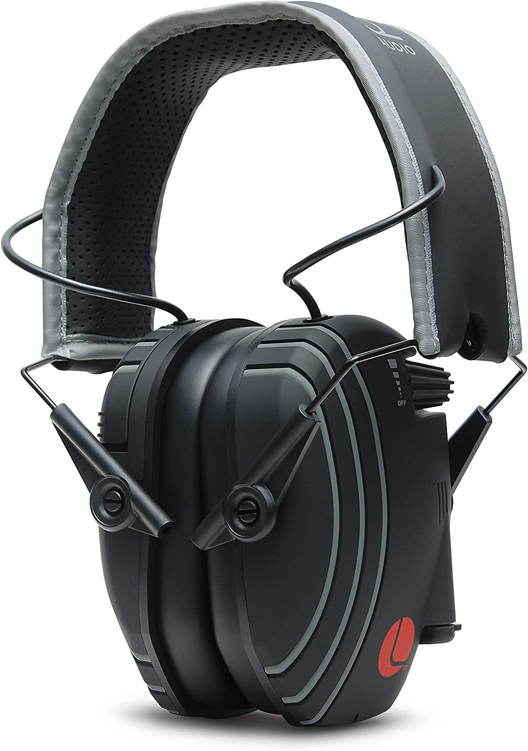 Lucid Audio AMPED Sound Amplifying Hearing Headphones - Black/Gray On-The-Ear (Hearing protection, headphones, hearing enhancement, hearing amplifier, sound reduction, TV enhancement, noise reduction)