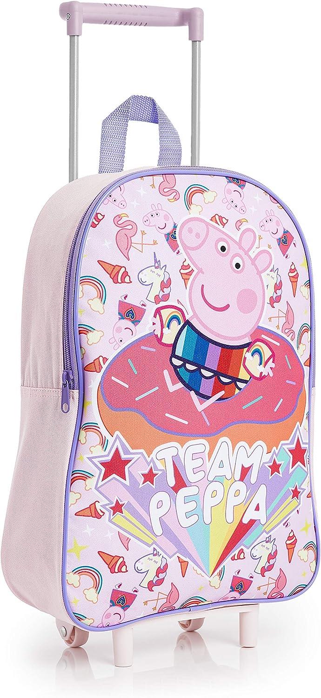 Peppa Pig Maletas Infantiles Niña Con Diseño Unicornio Mágico, Maleta Trolley de Viaje Con Ruedas, Equipaje de Mano Infantil Para Cabina, Regalos Unicornios Para Niñas Niños