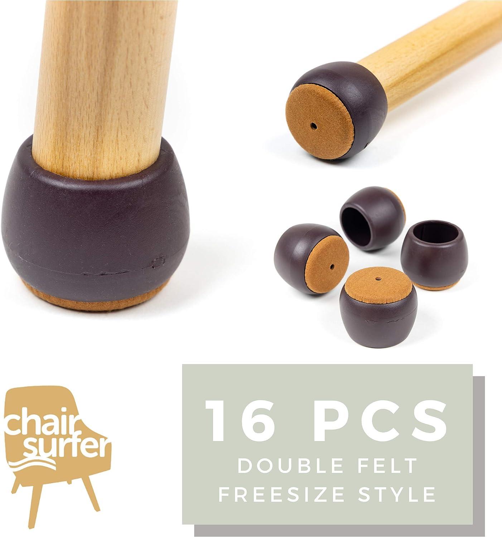 Chair Leg Caps Floor Protectors - (Freesize/16 Piece Set) | Elastic Caps w/Double Felt for Easy Hardwood Floor Protection, No Noise, No Dust, Stronger Grip (21-24mm) Extra Small