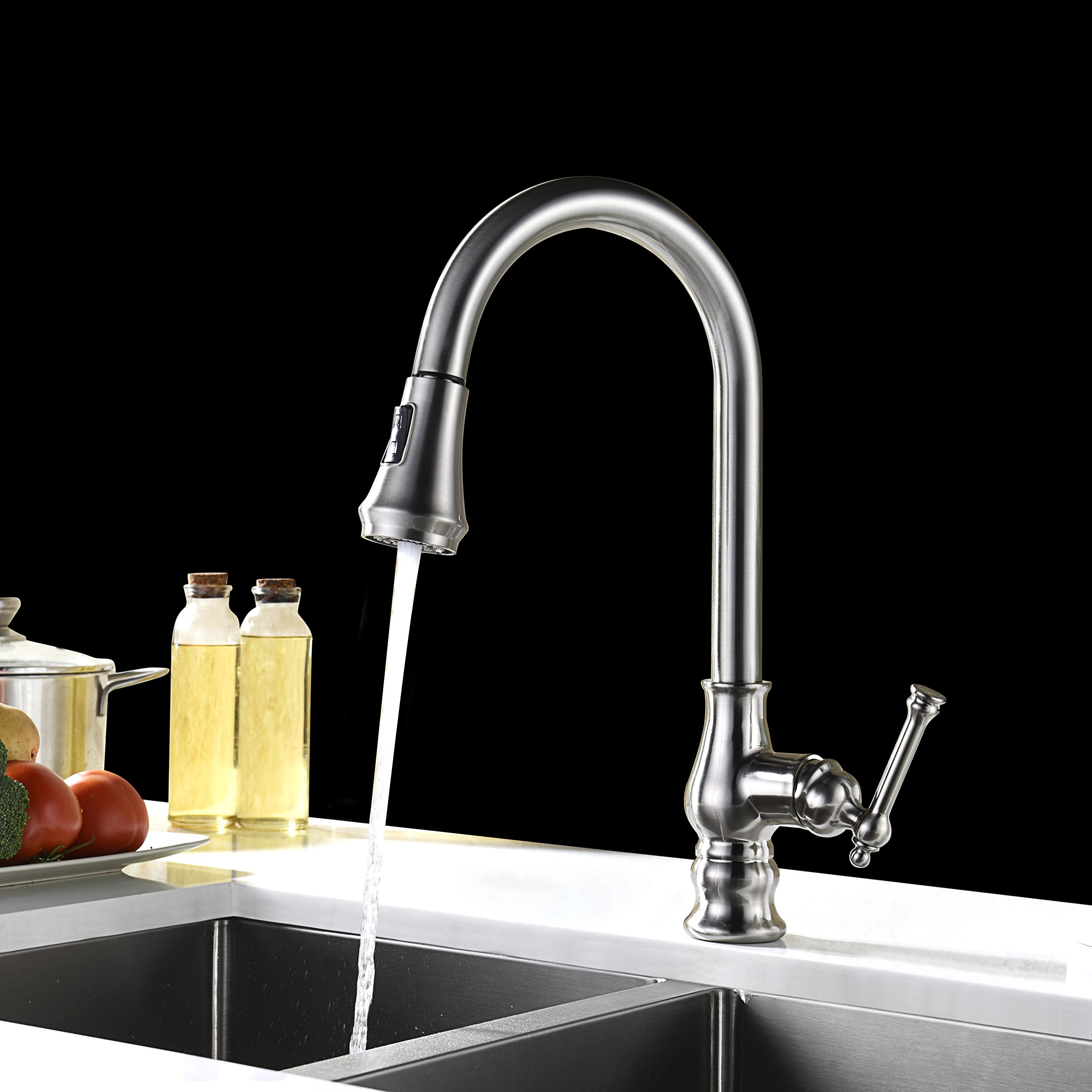 Kitchen Faucet Brushed Nickel with Pull Out Sprayer Delle Rosa Solid ...
