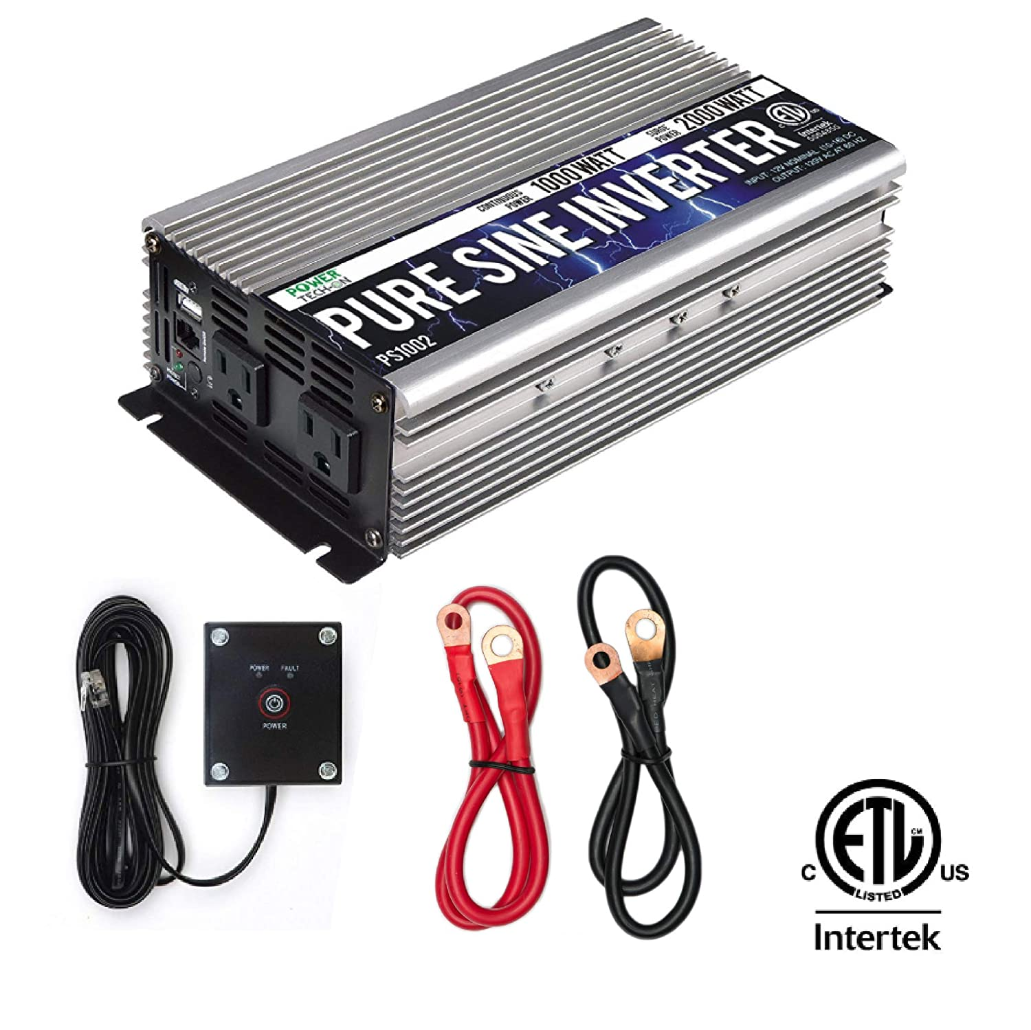 Power TechOn PS1002 Pure SINE Wave Inverter 1000W Cont/2000W Peak