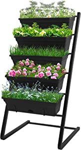PUREKEA Vertical Raised Garden Bed, 5 Tier Planter Box Perfect for Patio Balcony Indoor and Outdoor Yard Porch Apartment, Vertical Garden Planter, Cascading Water Drainage