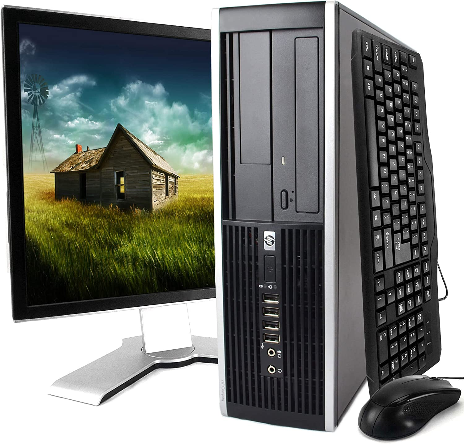 HP Elite 8000 Windows 10 Desktop Computer C2D 3.0 PC 8GB 160GB DVDRW WiFi 19 Inch LCD Monitor - keyboard - Mouse - Power cord
