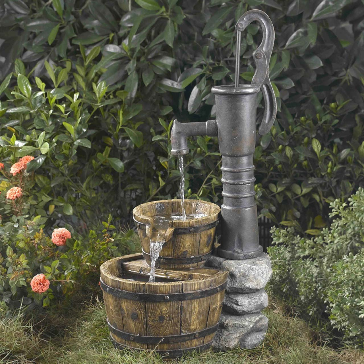 Beautiful Rustic Large Garden Deck Patio Water Pump Buckets Outdoor Fountain- Looks Like Old Hand Pump- Ornate Rustic Realistic Perfect Conversation Piece With Electric Powered Cascading Water Fall
