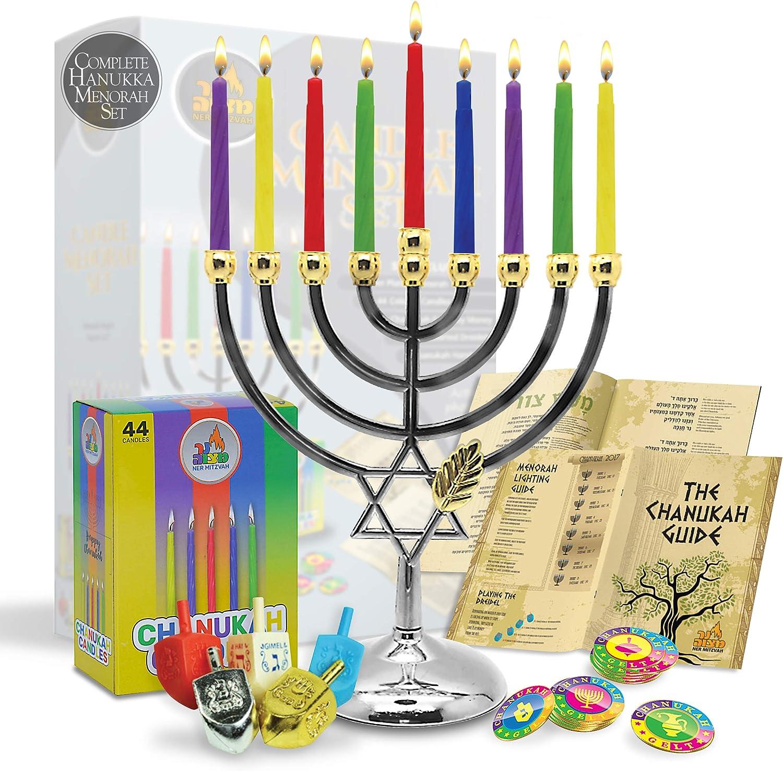 Menorahs for Chanukah - Complete Set Hanukkah Menorah - Menorah, Hanukkah Candles, Dreidels, Play Coins, Guide