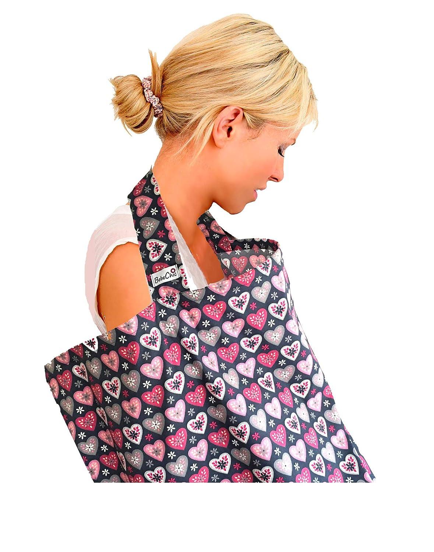 Top Quality Oeko-Tex/® Certified 100/% Cotton Grey//Pink Hearts Breastfeeding Covers BebeChic.UK Boned Nursing Tops