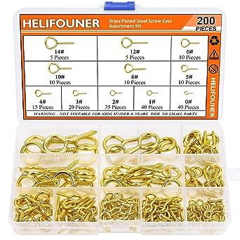 HELIFOUNER 200 Pieces 11 Sizes Nickel Plated Steel Screw Eyes Assortment Kit