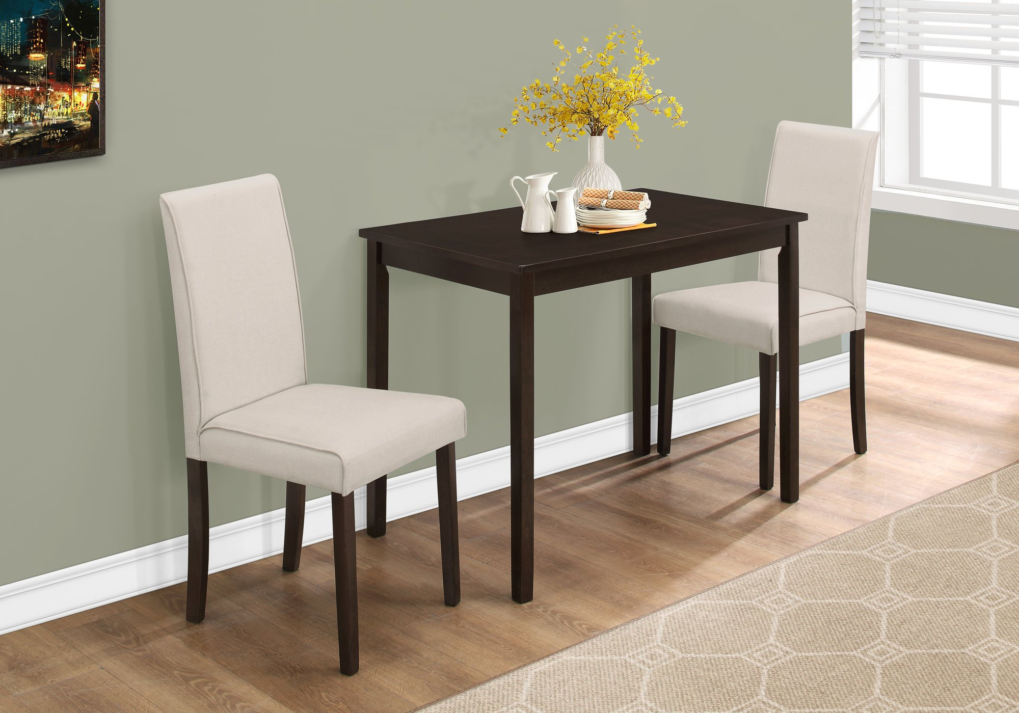 Monarch Specialties I 1017, Dining Set Set, Parson Chairs, Cappuccino/Beige, 3pcs