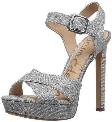 8f67a9f36812 Sam Edelman Women s Willa Heeled Sandal Silver Glitz Fabric 5 Medium US