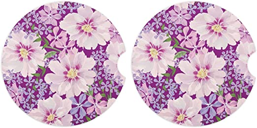 """Car Coasters 2 Pack Car Cup Holder Accessories Absorb Water Drops to Keep Your Car Cup Holders Clean and Dry-2 Pack 2.56/"""" Diameter Absorbent Stone Coaster for Drinks Flower 2"""