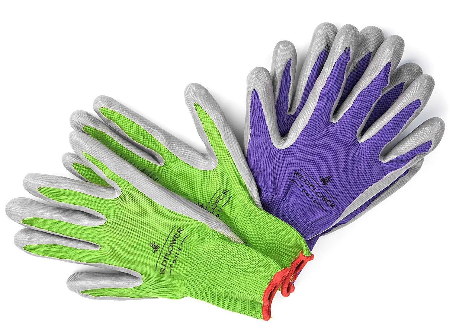 WILDFLOWER Tools Gardening Gloves for Women and Men - Nitrile Coating for Protection (Medium, Purple Pair/Green Pair with White Cuff Hem)
