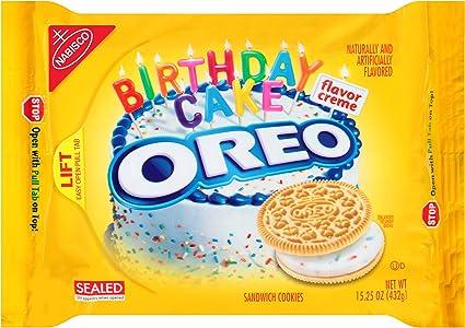 Remarkable Oreo Golden Birthday Cake Sandwich Cookies 15 25 Ounce Pack Of Personalised Birthday Cards Veneteletsinfo