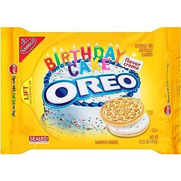 Amazoncom Oreo Golden Birthday Cake Sandwich Cookies 1525 Ounce