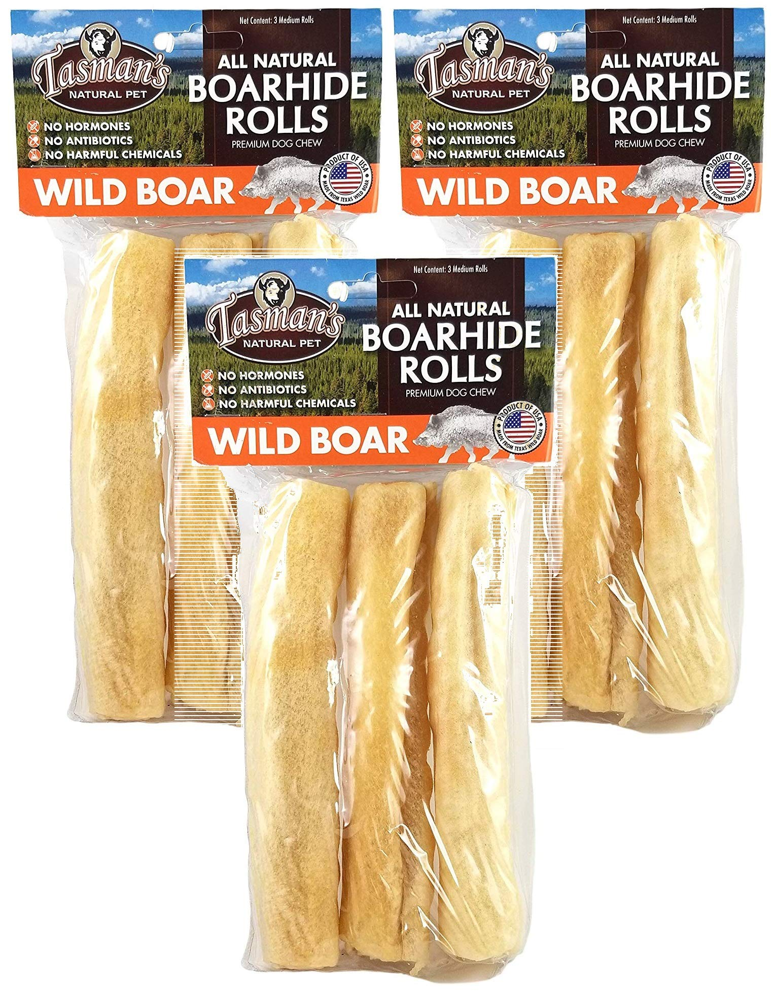 Tasman's Natural Pet 3 Pack Wild Boar Rawhide Rolls, 3 Medium Rolls per Pack (9 Pack)