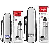 Milton Vacuum Flasks Thermosteel Flip Lid 1000 ml with Vacuum Flasks Thermosteel Flip Lid 500 ml Combo, Steelplain