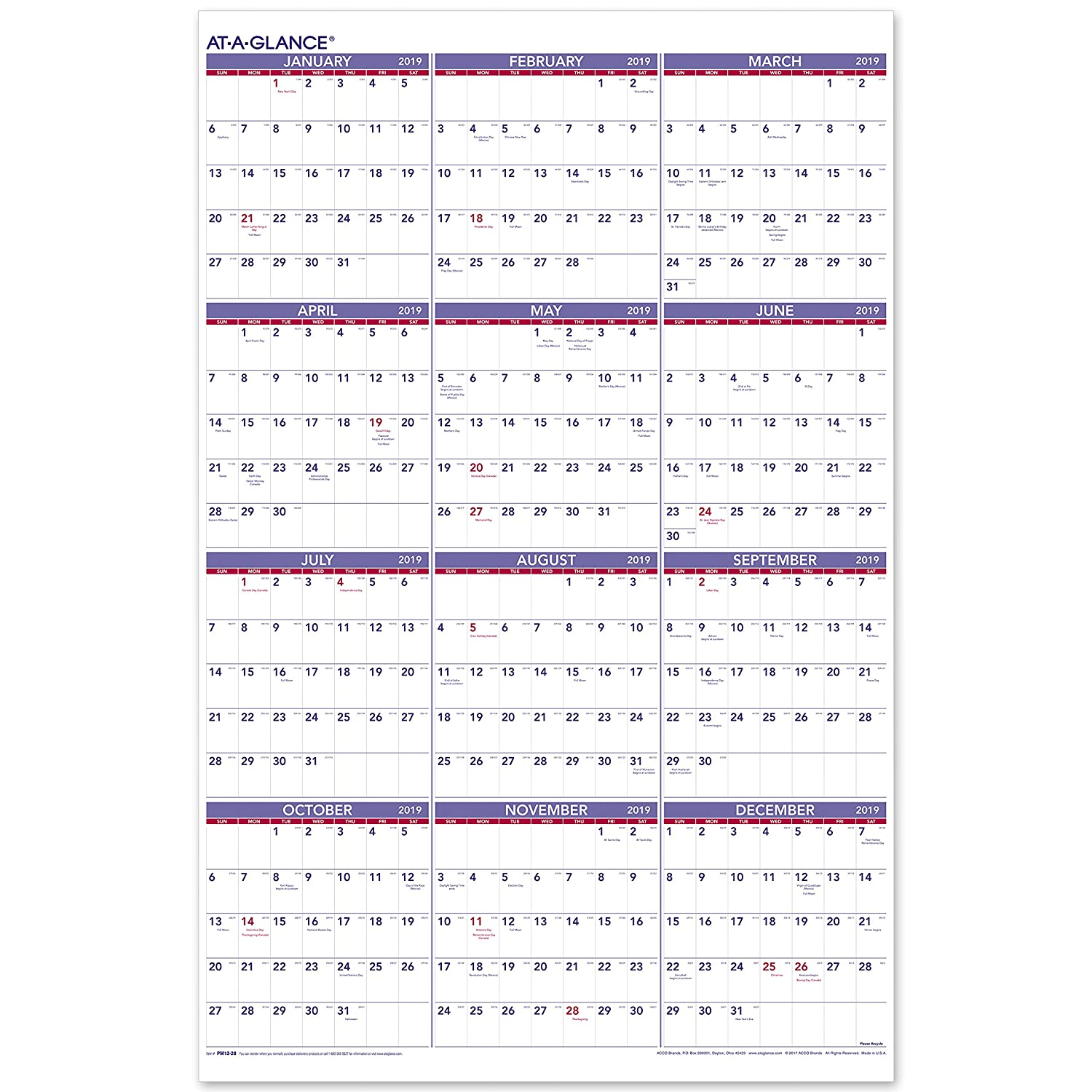 Calendario 2019 Week Number.At A Glance 2019 Yearly Wall Calendar 36 X 24 Xlarge Vertical Pm1228