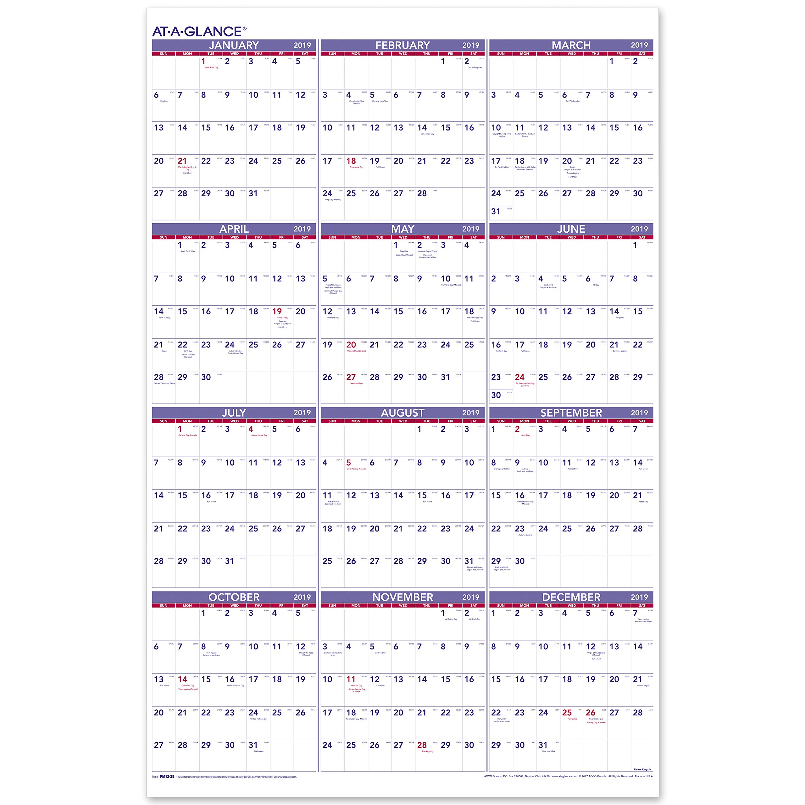 AT-A-GLANCE 2019 Yearly Wall Calendar, 36'' x 24'', XLarge, Vertical (PM1228)